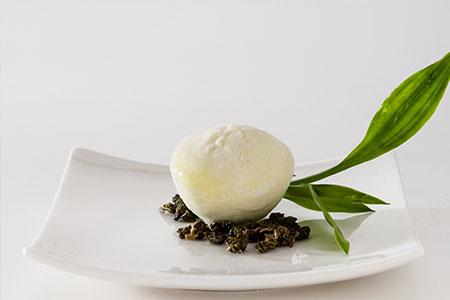 Fresh Green Tea Mochi Ice Cream on a Dish