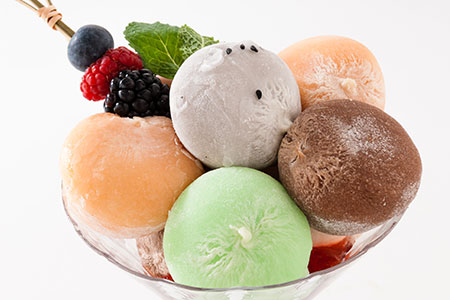 Glass of Colorful Mochi Ice Cream