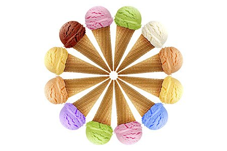 Various Flavors Of Ice Cream In Cones
